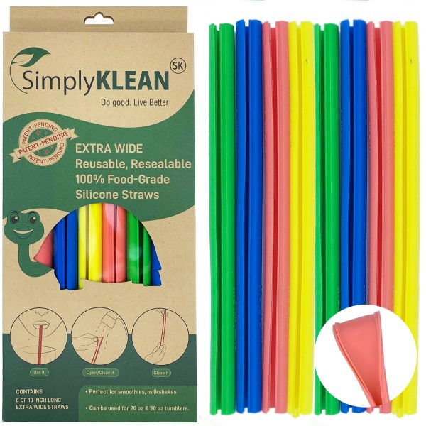 Extra Wide Openable Reusable SIlicone Straws